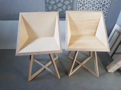 Frezowane sklejki, krzesło ze sklejki